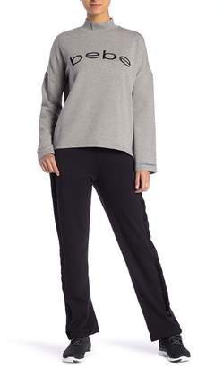 Bebe Velour Stripe Fleece Track Sweatpants