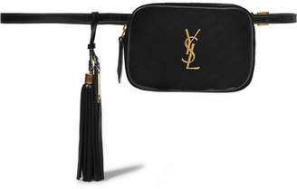 Saint Laurent Lou Leather-trimmed Quilted Velvet Belt Bag - Black