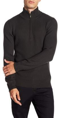 Vince Wool Ribbed Mock Neck Pullover