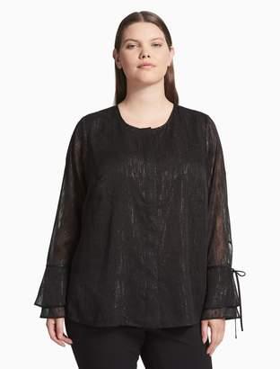 Calvin Klein plus size metallic long bell sleeve top