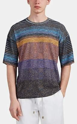 Missoni Men's Marled Waffle-Knit Cotton-Blend T-Shirt - Blue Pat.