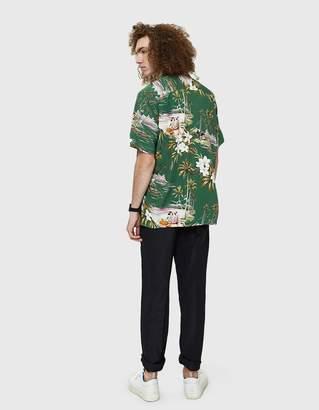 Gitman Brothers Aloha Rayon Camp Shirt in Green