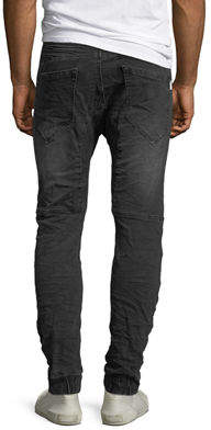 Nxp Men's Slim-Fit Five-Pocket Biker Knee-Panels Distressed Jeans