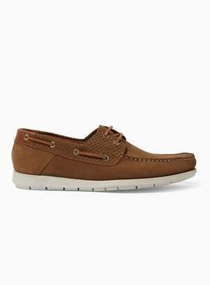Topman Mens Brown Tan Leather 'Wyatt' Boat Shoes