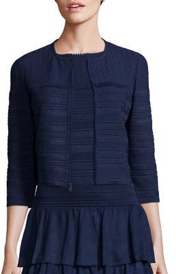 St. John Embossed Knit Cropped Cardigan $895 thestylecure.com