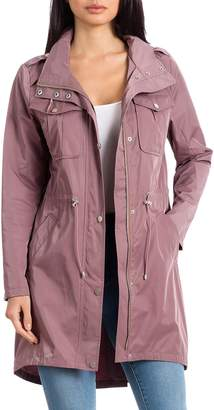 Badgley Mischka Collection Water Repellent Anorak with Stowaway Hood