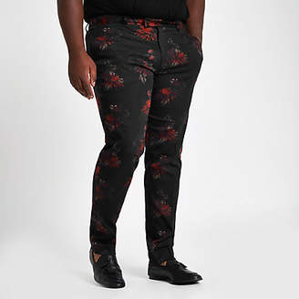 River Island Big and Tall black floral suit trousers
