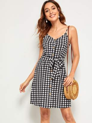 Shein Gingham Button Front Belted Slip Dress
