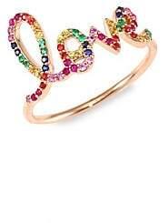 Sydney Evan Women's Large Love Rainbow Sapphire Ring