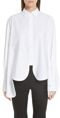Valentino Scallop Hem Poplin Trapeze Shirt