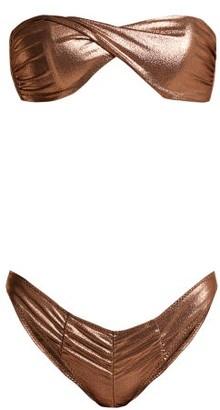 Lisa Marie Fernandez Alexia Ruched Metallic Bikini - Womens - Bronze