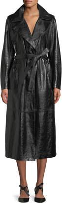 Skiim Tie-Waist Patent Lambskin Leather Long Trench Coat