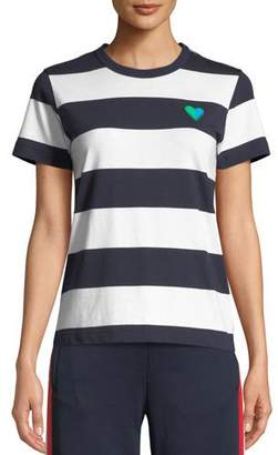 Tory Sport Striped Heart Crewneck Tee