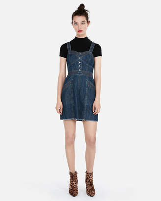 Express Denim Bustier Fit And Flare Dress