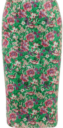 Paul & Joe Java Sequined Floral-print Tulle Midi Skirt - Bright green