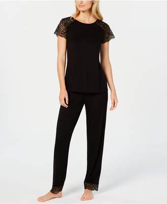 INC International Concepts I.n.c. Sheer Lace-Sleeve Pajama Set