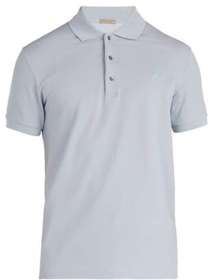 Bottega Veneta Logo Embroidered Cotton Polo Shirt - Mens - Light Blue