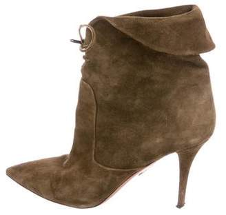 Aquazzura Suede Pointed-Toe Booties