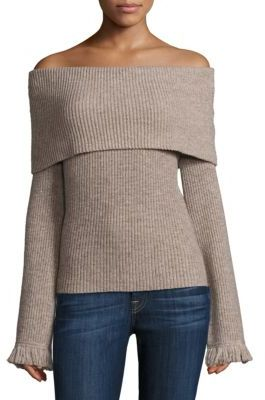 Ella Moss Avila Off-The-Shoulder Rib-Knit Sweater $198 thestylecure.com