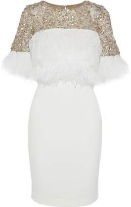 Badgley Mischka Embellished Tulle And Crepe Dress