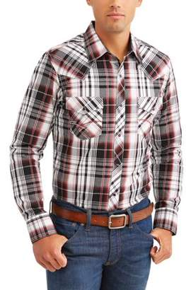 Plains Mens Long Sleeve Textured Plaids With Contrast Stitch