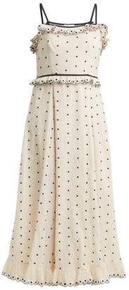 RED Valentino Polka Dot And Ruffle Embellished Dress - Womens - Blue White