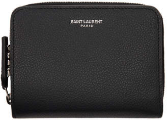 Saint Laurent Black Compact Rive Gauche Zip Around Wallet