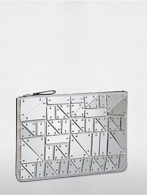 Calvin KleinCalvin Klein Womens Platinum Large Chip Pouch Silver/Specchio