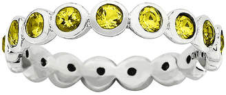JCPenney FINE JEWELRY Personally Stackable November Yellow Crystal Sterling Silver Eternity Ring