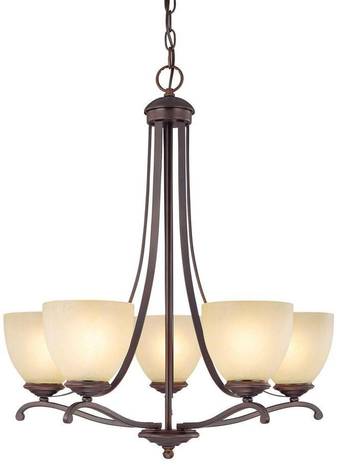 Tumbleweed Filament Design 5-Light Burnished Bronze Chandelier with Glass Shade