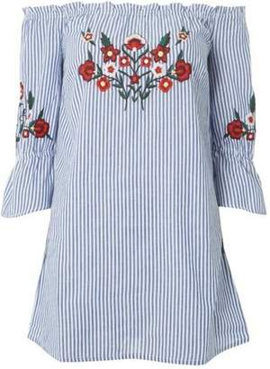 Dorothy Perkins Womens Blue Striped Embroidered Tunic Top