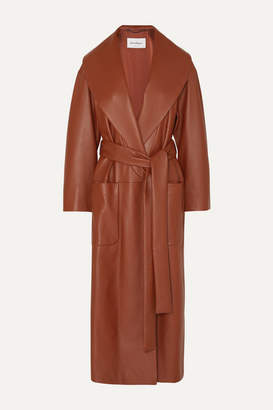 Salvatore Ferragamo Belted Textured-leather Wrap Coat - Orange