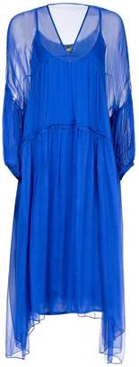 Nissa - Loose Silk Dress with Puffed Sleeves In Blue