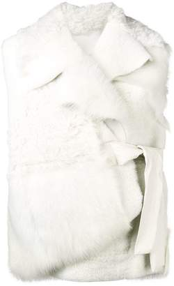 Drome waist-tied fur gilet