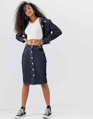 Emporio Armani button up denim skirt with logo waist band