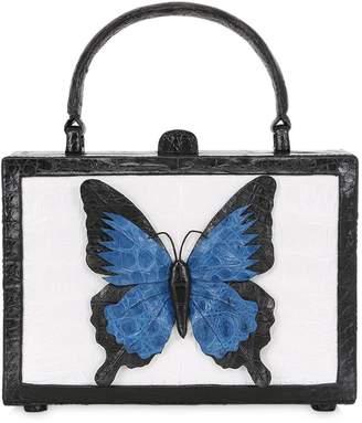 Nancy Gonzalez Butterfly Box Caiman Top Handle Bag
