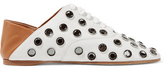 Mika Crystal-embellished Leather Loafers - Off-white