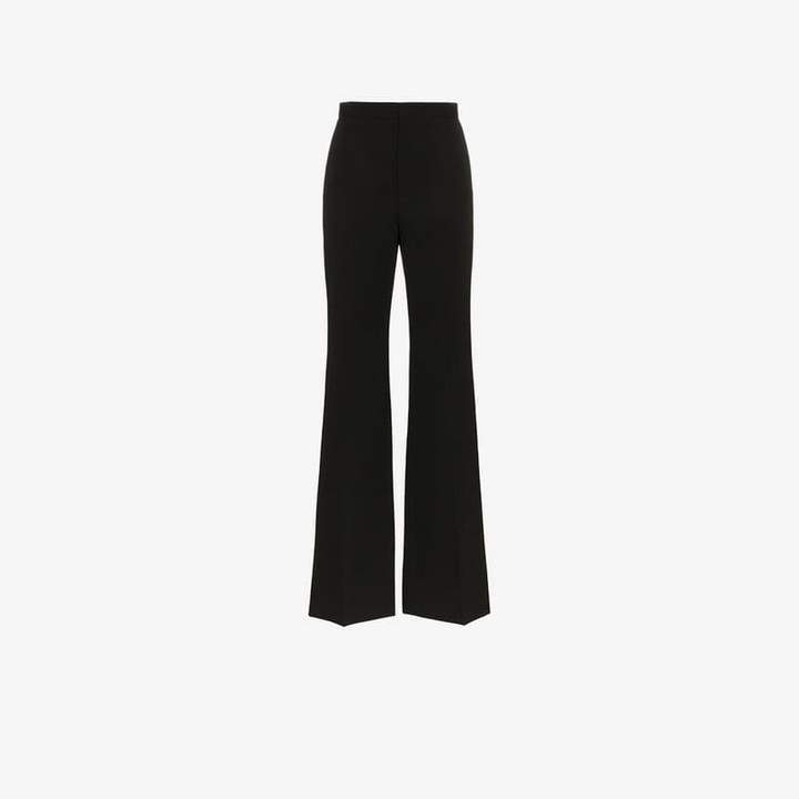 High waisted wide leg wool trousers