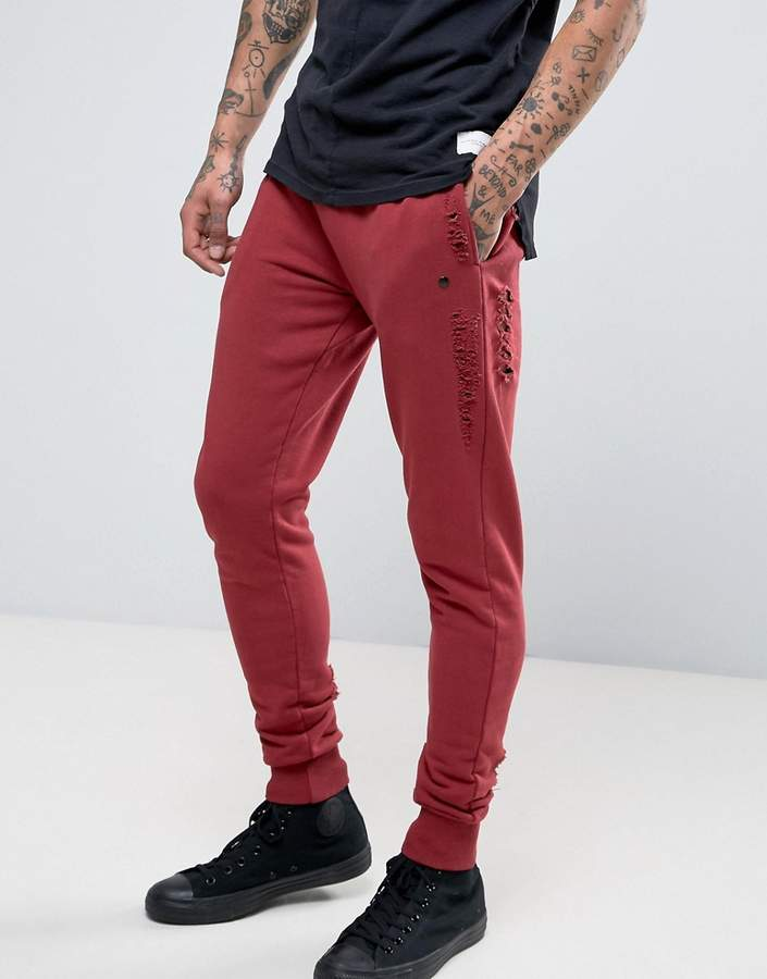 Red Distressed Jeans For Men - ShopStyle Australia