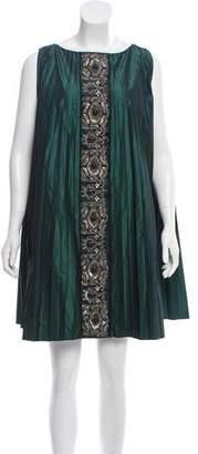Alberta Ferretti Embroidered Pleated Dress