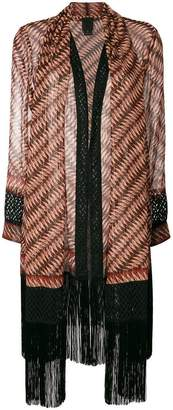 Anna Sui striped sheer coat