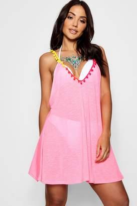 boohoo Multi Coloured Pom Pom Beach Dress