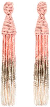 Oscar de la Renta Long Ombre Beaded Tassel Earrings