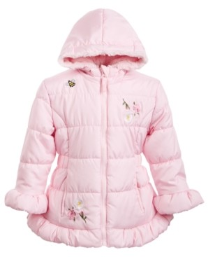 S. Rothschild Toddler Girls Hooded Embroidered Skater Coat With Faux-Fur Trim