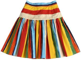 Dolce & Gabbana Stripes Printed Cotton Skirt