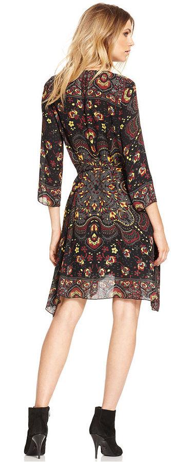 Rachel Roy Dress, Three-Quarter V-Neck Paisley-Print