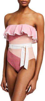 Marysia Swim Greenport Ruffle Check Belted Swimsuit