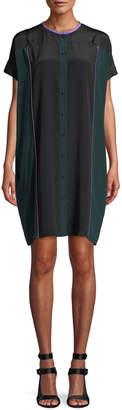 Diane von Furstenberg Colorblock Button-Front Silk Shirtdress