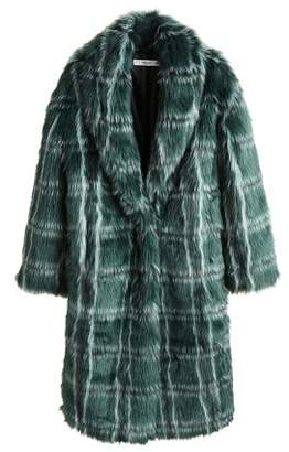 MANGO Checked faux fur coat