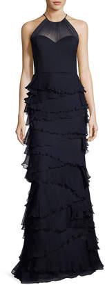 Badgley Mischka Sleeveless Silk Tiered Ruffle Gown, Navy